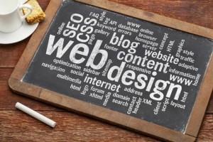 web design word cloud on blackboard