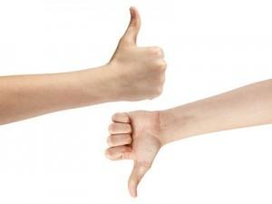 female teen hands like dislike symbol