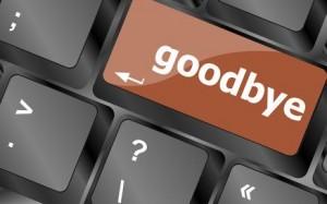 goodbye word on keyboard key, notebook computer button